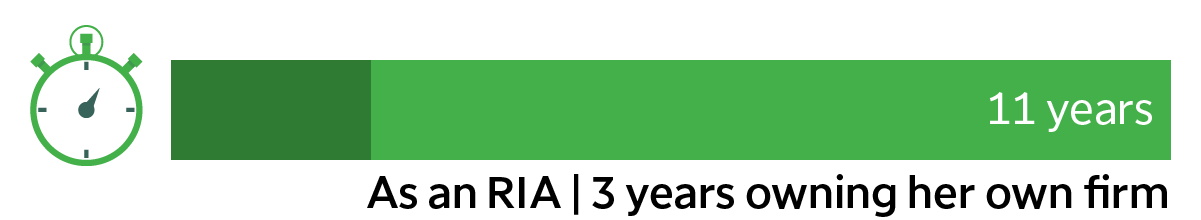 11 years as an RIA | 3 years owning her own firm