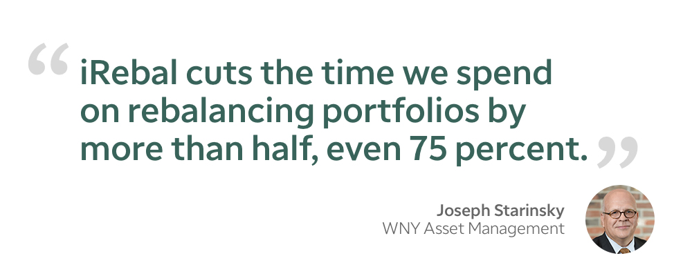 Jospeh Starinsky quote - iRebal cuts the time we spend on rebalancing portfolios by more than half, even 75 percent