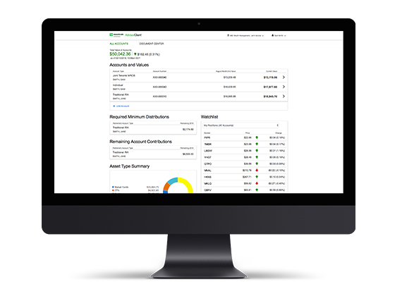 AdvisorClient: Customize the online account experience for your clients so they can see their balances, positions, transaction history, and more—exactly how you want them to.